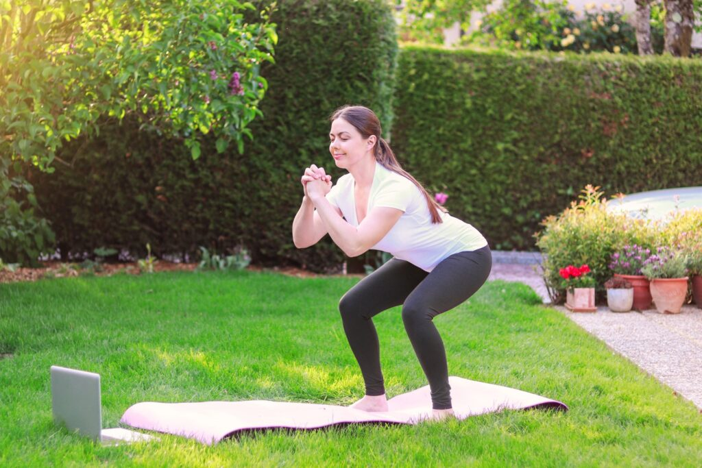 A Girl Doing Body-weight Squats